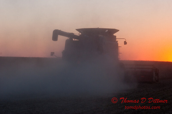 2010 - Combine harvesting soybeans at sunset - 47