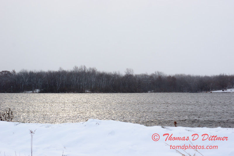 25 - Wooded areas surrounding Lake Evergreen on a snowy day - Northern McLean County Illinois - Monday December 1st 2008