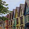 Colorful homes along the row