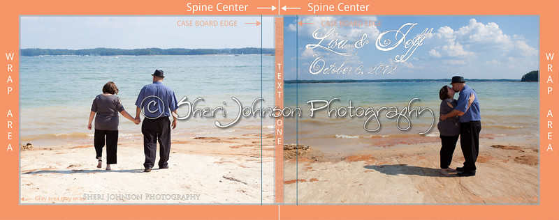 85X11photocovertemplate-LISA-JEFF-wrap-area-display -  this is just to show you where the canvas will wrap around the book cover and where the spine and text lays. - this book measures 11 inches wide and 8.5 inches tall.