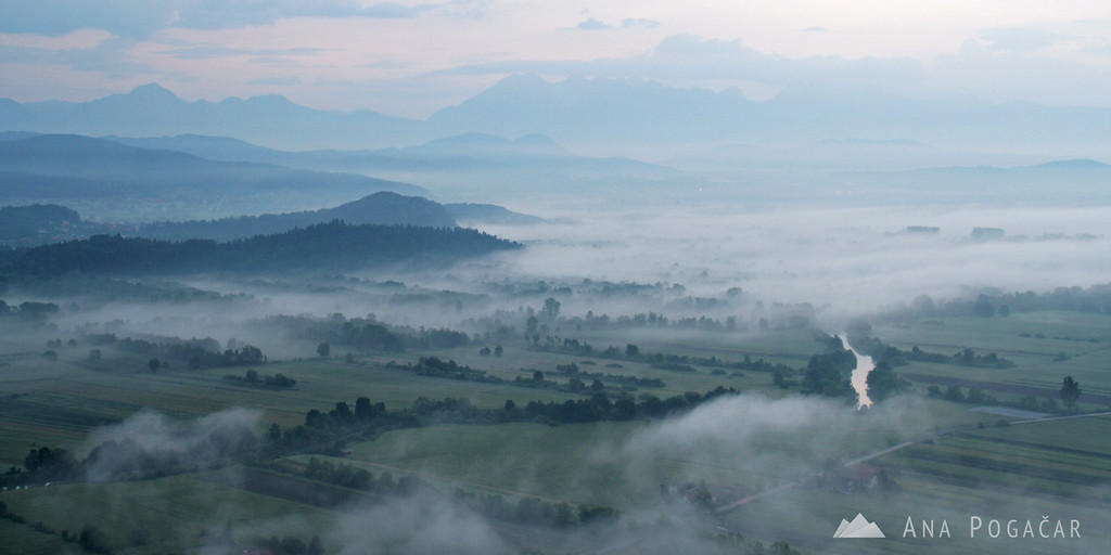 Mists over the Ljubljana Marshes from St. Ana hill before sunrise