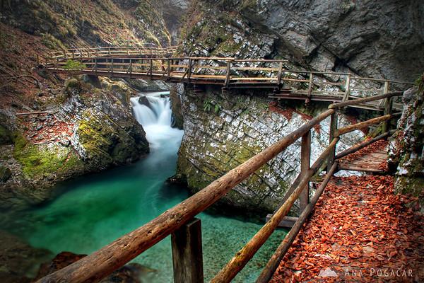Vintgar Gorge near Bled in winter