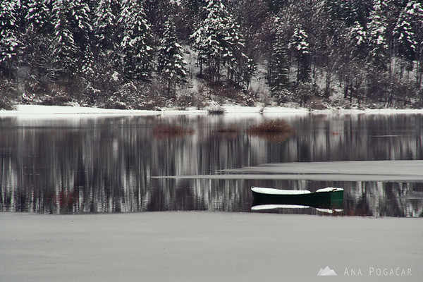 Lake Cerknica on a cloudy, snowy day