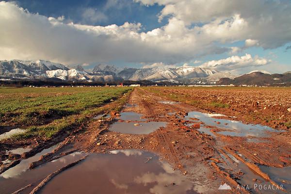 Snow around Kamnik in March