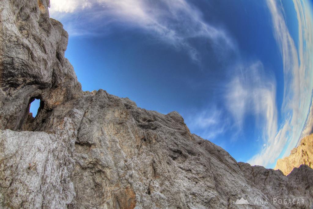 Climbing the north face of Mt. Prisojnik - the natural window