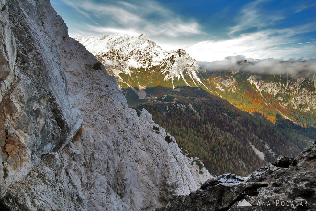 Climbing the north face of Mt. Prisojnik
