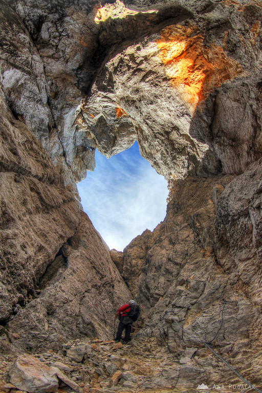 Climbing the north face of Mt. Prisojnik - getting to the natural window