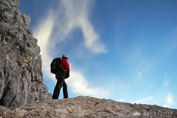 Climbing the north face of Mt. Prisojnik