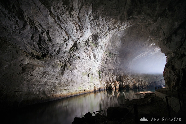 Painting with light in Planina Cave (Planinska jama)