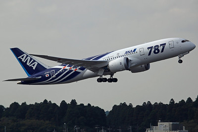 JA801A B787-800 ANA NH7877 to Sendai. Delivered on 28th September, the first B787 in commercial service (Narita-Hong Kong on 26th October). In special '787' colours, only painted on their first two aircraft.