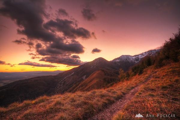 Dramatic sunset at the Kamniški vrh hill
