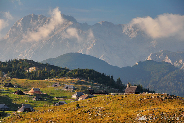 Velika planina with the Kamnik Alps in the background
