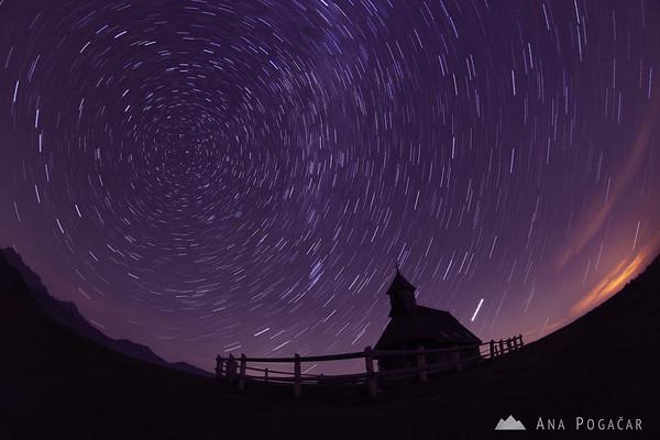 Star trails on Velika planina