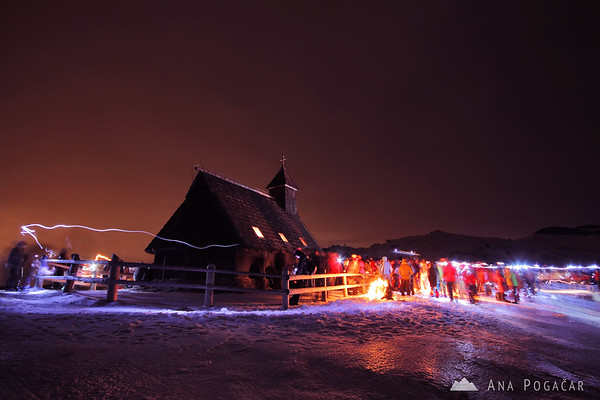 Velika planina chapel at the Christmas midnight mass