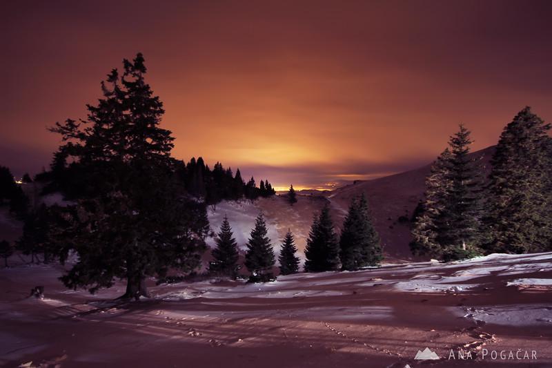 Velika planina at night