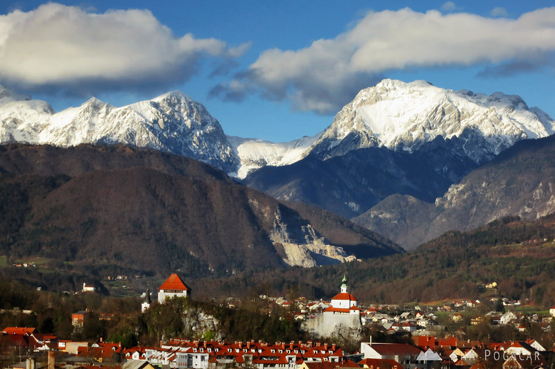 Kamnik panorama with the Kamnik Alps in the background