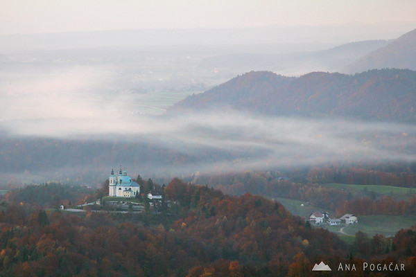 Views from Špica hill: St. Ana church in Tunjice