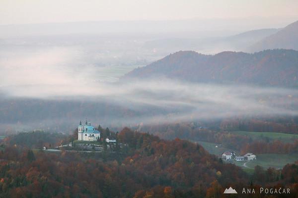 Views from Špica hill: St. Ana church in Tunjice