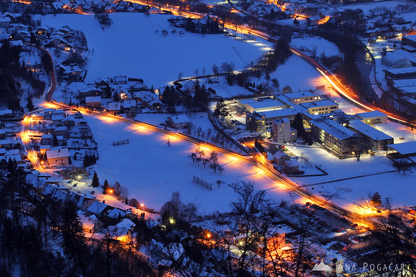 Kamnik from Stari grad hill during the blue hour