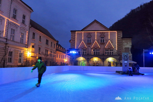 Ice rink on the main square in Kamnik