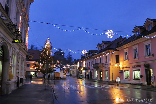 Main street in Kamnik with the main square to the left.