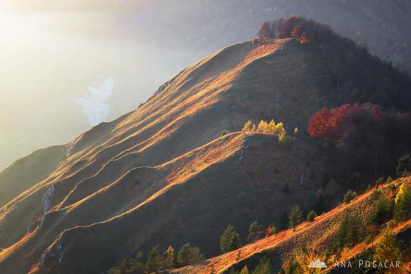 The peak of Planjava in the last sunrays.