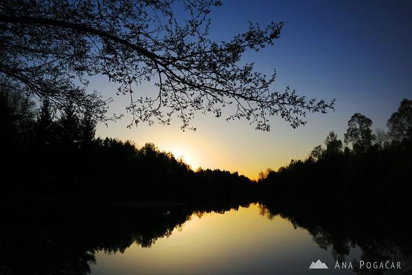 Sunset at a pond