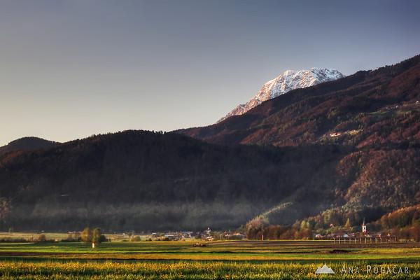 Mt. Kočna hiding behind hills