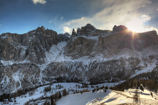 Sella Ronda and the setting sun