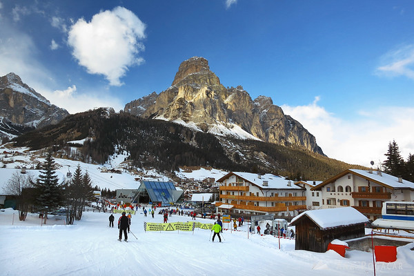 Corvara with the impressive Sassongher in the background.