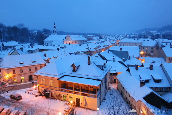 Views of Kamnik from Mali grad during blue hour