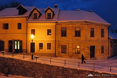 Snowy Kamnik during blue hour - Feb 7, 2012