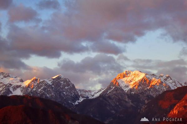 View towards the Kamnik Alps (Mt. Brana and Mt. Planjava) from the Stari grad hill