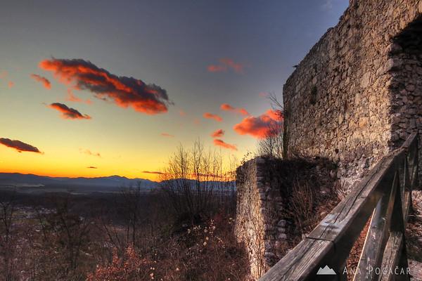 Stari grad castle after sunset