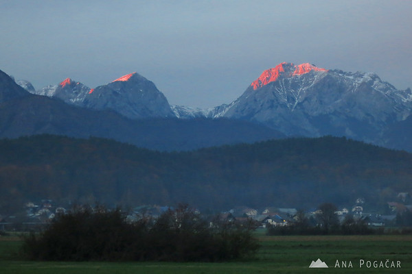 Last sunrays on Mt. Brana and Mt. Planjava.