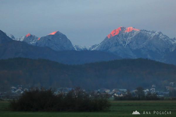 Last sunrays on Mt. Brana and Mt. Planjava.