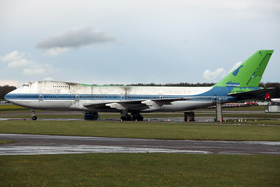 SX-OAD B747-200 ex Olympic Airways. Arrived 6/02, with temporary green paint still visible from an Asda advert. Bruntingthorpe 22/4/12.