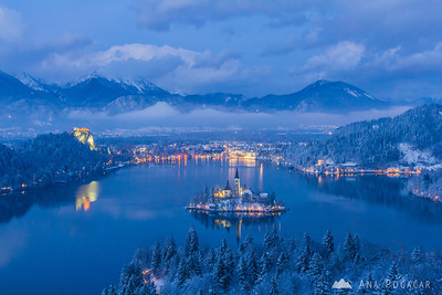 Bled from Ojstrica - Feb 7, 2013