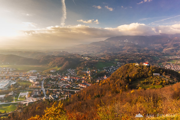 Kamnik from Špica hill in late afternoon