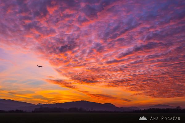 Crazy sunset over the Mengeš fields