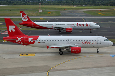 D-ABDB A320-200 Air Berlin. Still in ex OLT Express colours (ceased operations in January). With D-ABCF A321-200 Air Berlin, in the regular colour scheme.
