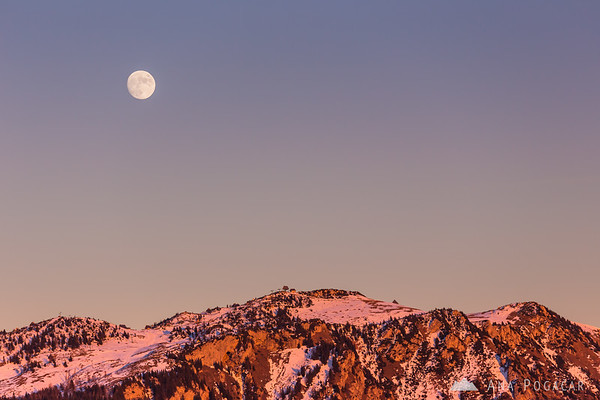 Full moon over Velika planina from Kamniški vrh hill