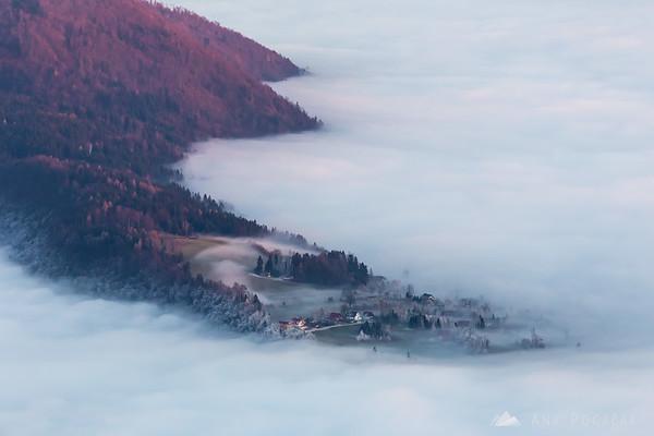 Fog creeping up the slopes