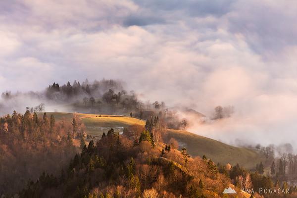 Fog in the valley from Kamniški vrh hill