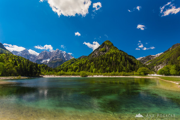 Lake Jasna with Mt. Prisojnik and Mt. Razor in the background
