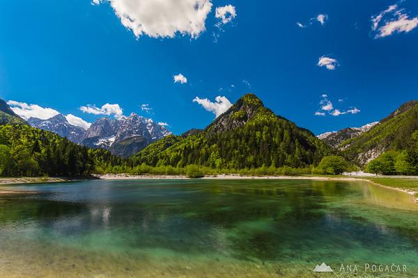 Lake Jasna with Mt. Prisojnik and Mt. Razor in the background