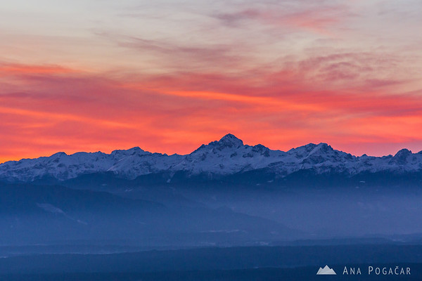 The Julian Alps with Mt. Triglav at sunset from Kriška planina