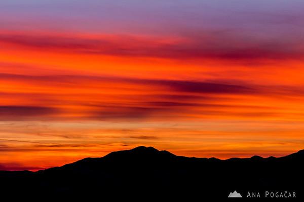 Sunset from Kriška planina