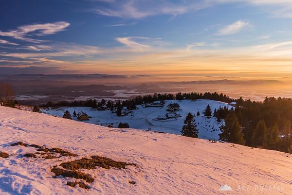 Sunset on Kriška planina