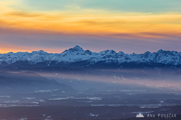 Sun rays and Mt. Triglav